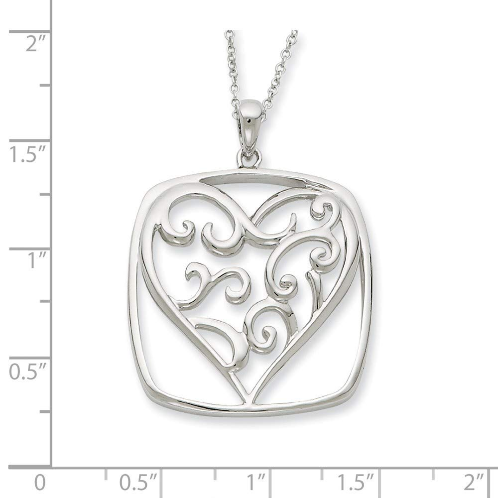 925 Sterling Silver Polished Spring Ring Rhodium-plated Antique finish Antiqued You Are A Friend Of My Heart 18inch Necklace