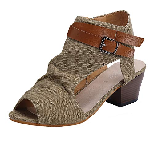 (Kinrui Women Shoes Womens Open Toe Ankle Strap Cutout Buckle Side Zipper Stacked Heel Sandals Platform Booties (Khaki, US:8.0))