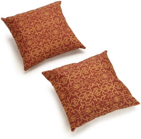 Blazing Needles Outdoor Spun Poly 20-Inch by 20-Inch by 6-Inch Throw Pillow, Vanya Paprika, Set of 2
