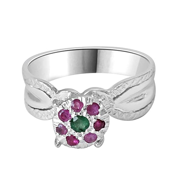 Royal Chicks Real Ruby & Green Emerald Ring in Sterling Silver Rings at amazon
