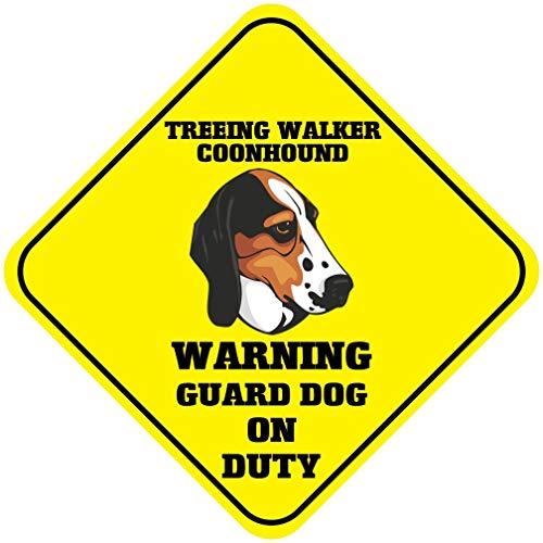 New Treeing Walker Coonhound Warning Guard Dog On Duty Crossing Metal Novelty - Walker New Treeing