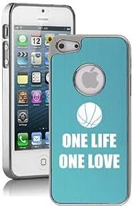 Apple iPhone 5c Aluminum Plated Chrome Hard Back Case Cover One Life Basketball (Light Blue)