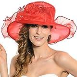 Women Church Kentucky Derby Hat Wedding Bridal Shower Organza Wide Brim Hat (9 Colors) (Red)