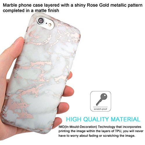 iPhone 7 Hülle, iPhone 8 Hülle, JIAXIUFEN Glänzend Rose Gold Gray Cloud Marmor Marmor Design Soft TPU Silikon Schutz Handy Hülle Handytasche HandyHülle Case Cover Schutzhülle für Apple iPhone 7 /iPhon