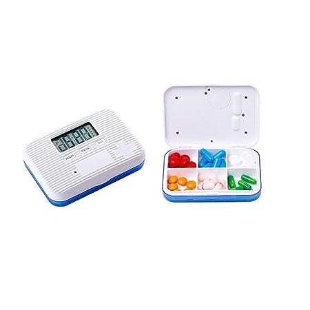 KOBWA Organizador de pastillas de alarma con 5 recordatorios de alarma, caja de pastillero digital dispensador de píldora 6 compartimentos para vitaminas / píldoras / medicamentos / suplemento