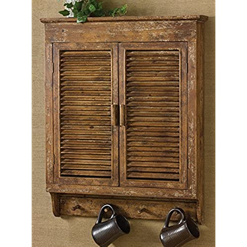 Shabby Chic Distressed Wood Shutter Cabinet