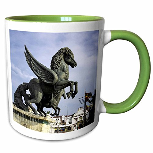 3dRose Danita Delimont - statues - Equine sculptures link Getsemani with El Centro districts, Colombia. - 11oz Two-Tone Green Mug - Centro Outlets El