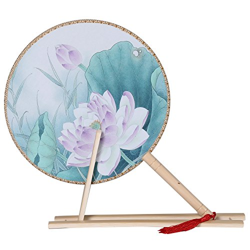 Womens Floral Fan - BABEYOND Floral Round Hand Fans for Women Vintage Chinese Bamboo Handheld Fan with Fan Stand Chinese Tang Dynasty Style (Style 6)