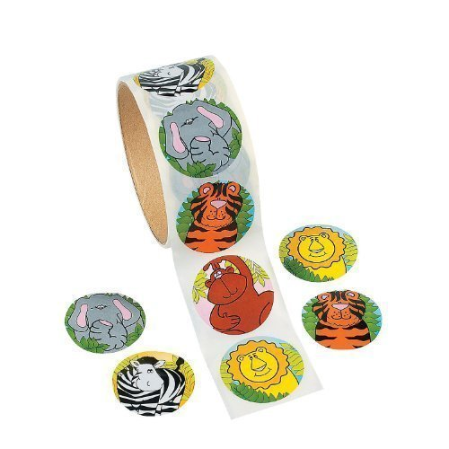 Fun Express Zoo Animal Sticker Roll Novelty (2-Pack of 100)