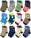 Deluxe Non Slip Anti Skid Slipper Cotton Crew Dress Socks With Grips For Infant Baby Toddlers Boys (3-9 Months, 12 designs/RB-71518)