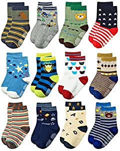 Deluxe Non Skid Anti Slip Slipper Cotton Crew Socks With Grips For Baby Toddlers Kids Boys (9-18 Months, 12 designs/RB-71518)