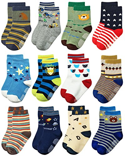 RATIVE Non Skid Anti Slip Crew Socks With Grips For Baby Toddlers Boys (18-36 Months, 12 designs/RB-71518)