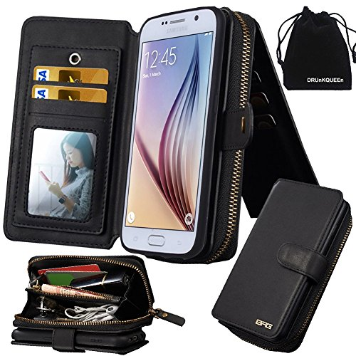 Price comparison product image DRUnKQUEEn Galaxy S6 Case, Premium Zipper Wallet Leather Detachable Magnetic Case Purse Clutch with Black Flip Credit Card Holder Cover for G920 Samsung Galaxy S 6