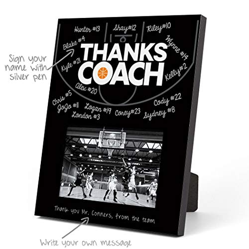ChalkTalkSPORTS Basketball Photo Frame | Coach (Autograph) Picture Frame | Black
