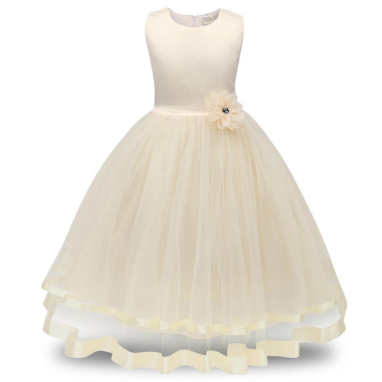 99921986b2a Sensail Enfants Fille Robe de Princesse longue en Dentelle avec Bowknot  Demoiselle d honneur sans manches Robe de Soirée Mariage Carnaval Dance  Prom ...