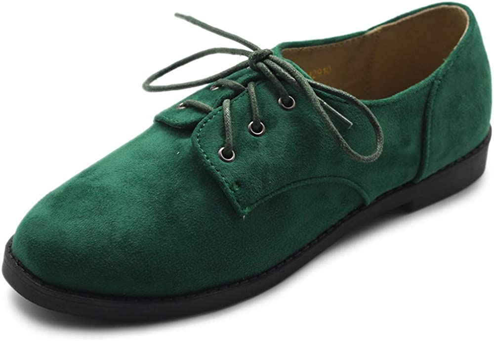 Ollio Women Classic Flat Shoe Lace Up Faux Suede Oxford
