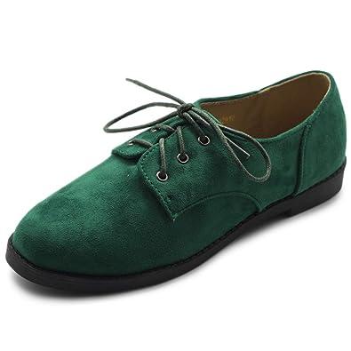 342de1927 Amazon.com | Ollio Women Classic Flat Shoe Lace Up Faux Suede Oxford ...