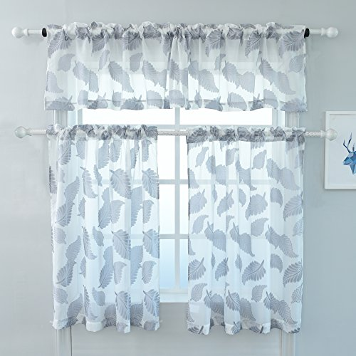 KEQIAOSUOCAI 3 Pieces Jacquard Voile Rod Pocket Window Grey