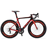 SAVADECK Phantom 2.0 700C Road Bike Carbon Fiber Frame Carbon Fork with SHIMANO Ultegra 6800 22 Speed System Maxxis Sierra 23C Tire Fizik Saddle 52CM Red