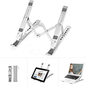 """Laptop Stand, FIASON Adjustable Portable Laptop Holder, Aluminum Alloy Foldable Computer Stand, Ergonomic Ventilated Notebook Stand, Fully Collapsible Riser Mount for All 9-17"""" Laptops & Tablet"""