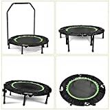 Vividy 40″ Mini Trampoline, Foldable Rebounder Fitness Trampoline with Adjustable Handrail Angle Max 18°