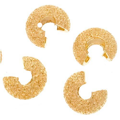 22K Gold Plated Stardust Sparkle Crimp Bead Covers 4mm (144)