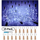 diy outdoor christmas decorations Wine Bottle Cork Lights, Battery Operated LED Cork Shape Silver Copper Wire Colorful Fairy Mini String Lights for DIY Party Christmas Halloween Wedding,Outdoor Indoor Decoration,15Pack (Cool White)