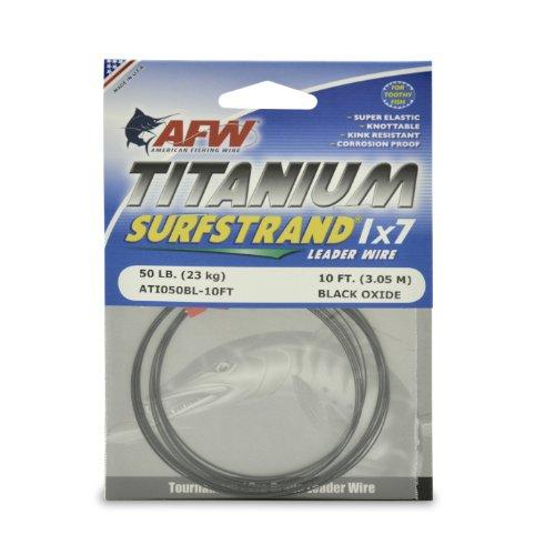 American Fishing Wire Titanium Surfstrand Bare 1x7 Titanium Leader Wire, Black, 50 Pound Test, 10 Feet ()