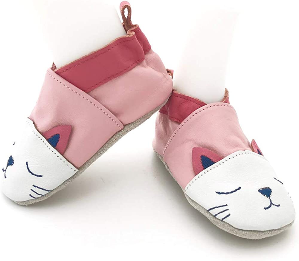 Tickle Toes Pink and White Cat Soft Leather Shoes 6778L