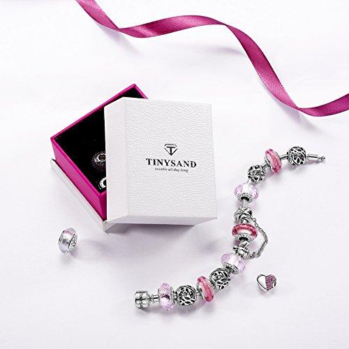 TINYSAND - 925 Argent Sterling Charms et Breloque, Perle Europeenne Fleur Zircon Avec Perle pendante