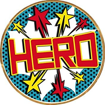 Hero with Stars Button Pin 2 Round Hero Award Pin