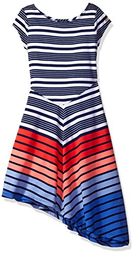 Teen Flag Dress (Tommy Hilfiger Big Girls' Multi Directional Stripe Dress, Flag Blue, XL)
