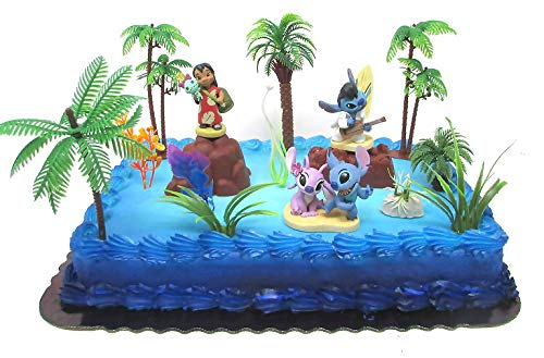 Lilo and Stitch Deluxe Birthday Cake Topper Set Featuring Figures and Decorative Themed Accessories by Cake Toppers
