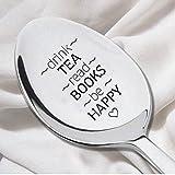 Drink Tea Read Book Spoon-Tea Lover Spoon - Book Lover Gift - Reader Gift-Tea Drinker Present-Graduation Gift- Do well Exam Theme