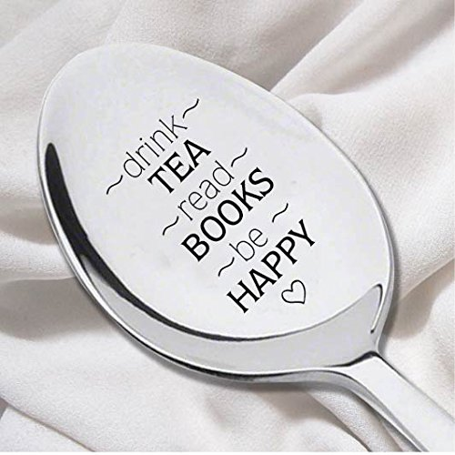Drink Tea Read Book Spoon-Tea Lover Spoon - Book Lover Gift - Reader Gift-Tea Drinker Present-Graduation Gift- Do well Exam Theme