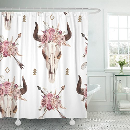 - Emvency Shower Curtain Watercolor Boho of Arrows Bull Skull Horns Floral Arrangement Waterproof Polyester Fabric 60 x 72 Inches Set with Hooks