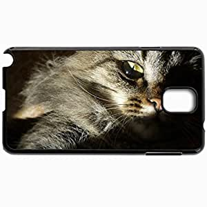 Customized Cellphone Case Back Cover For Samsung Galaxy Note 3, Protective Hardshell Case Personalized Cat Siberian Fluffy Yellow Eyes Black
