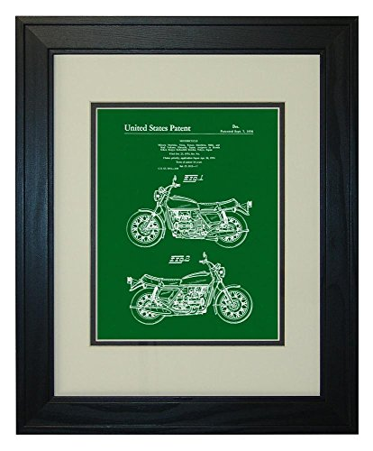 Motorcycle Patent Art Green Print in a Solid Pine Wood Frame with a Double Mat (20' x 24')
