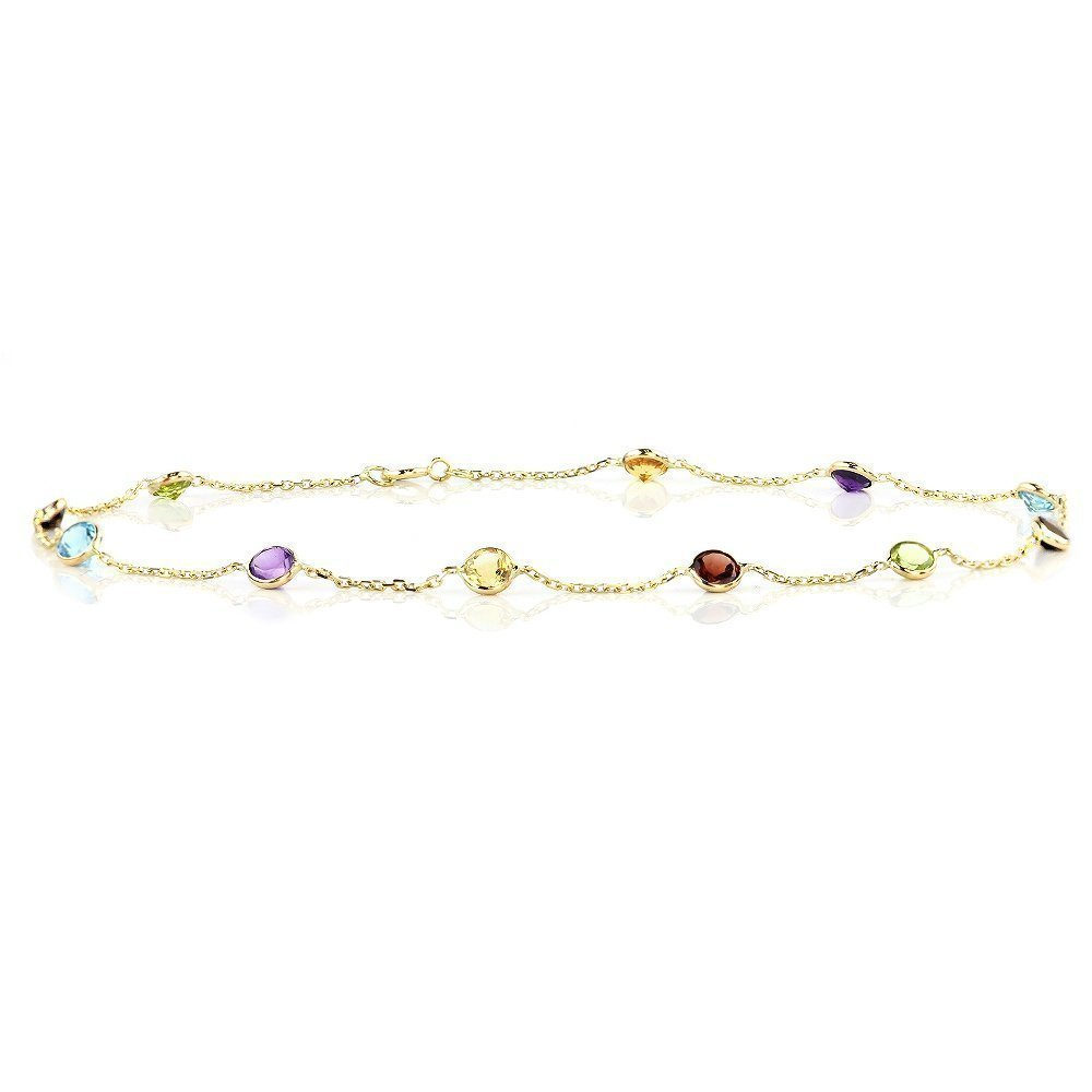 14k Yellow Gold Handmade Station Anklet with Round 4mm Gemstones