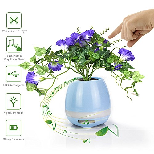 Wendsim Music Flowerpot, LED Flowerpot Smart Touch Music Plant Lamp with Wireless Bluetooth Speaker Piano Music Playing Flower Pots Multi-color LED Night Light for Bedroom,Office,Living Room(Blue)