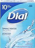 Dial Antibacterial Deodorant Bar Soap, Spring Water, 4 Ounce Bars, 10 Count (Pack of 3)