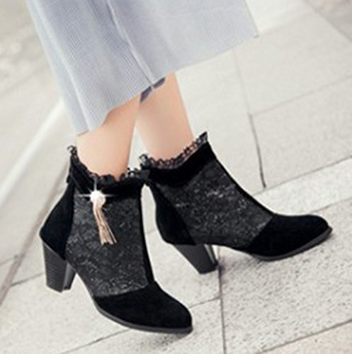 Black Heels Back Pointed Dress Booties Elegant Medium Zipper Laces Aisun Women's Chunky Toe 7Fqg1