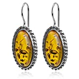 Amber Sterling Silver Classic Oval Fishhook Earrings