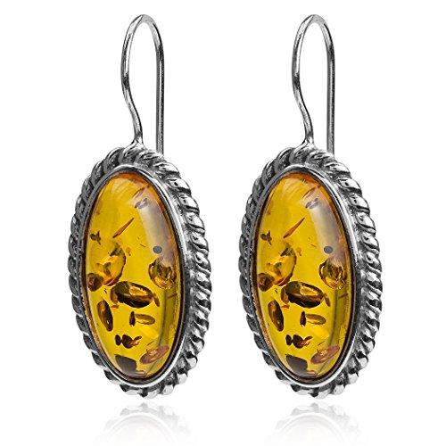Honey Amber Sterling Silver Oval Classic Hook Earrings