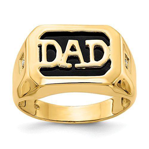 Dad Ring Onyx (ICE CARATS 14kt Yellow Gold Diamond Mens Black Onyx Dad Band Ring Size 10.00 Man Fine Jewelry Dad Mens Gift Set)