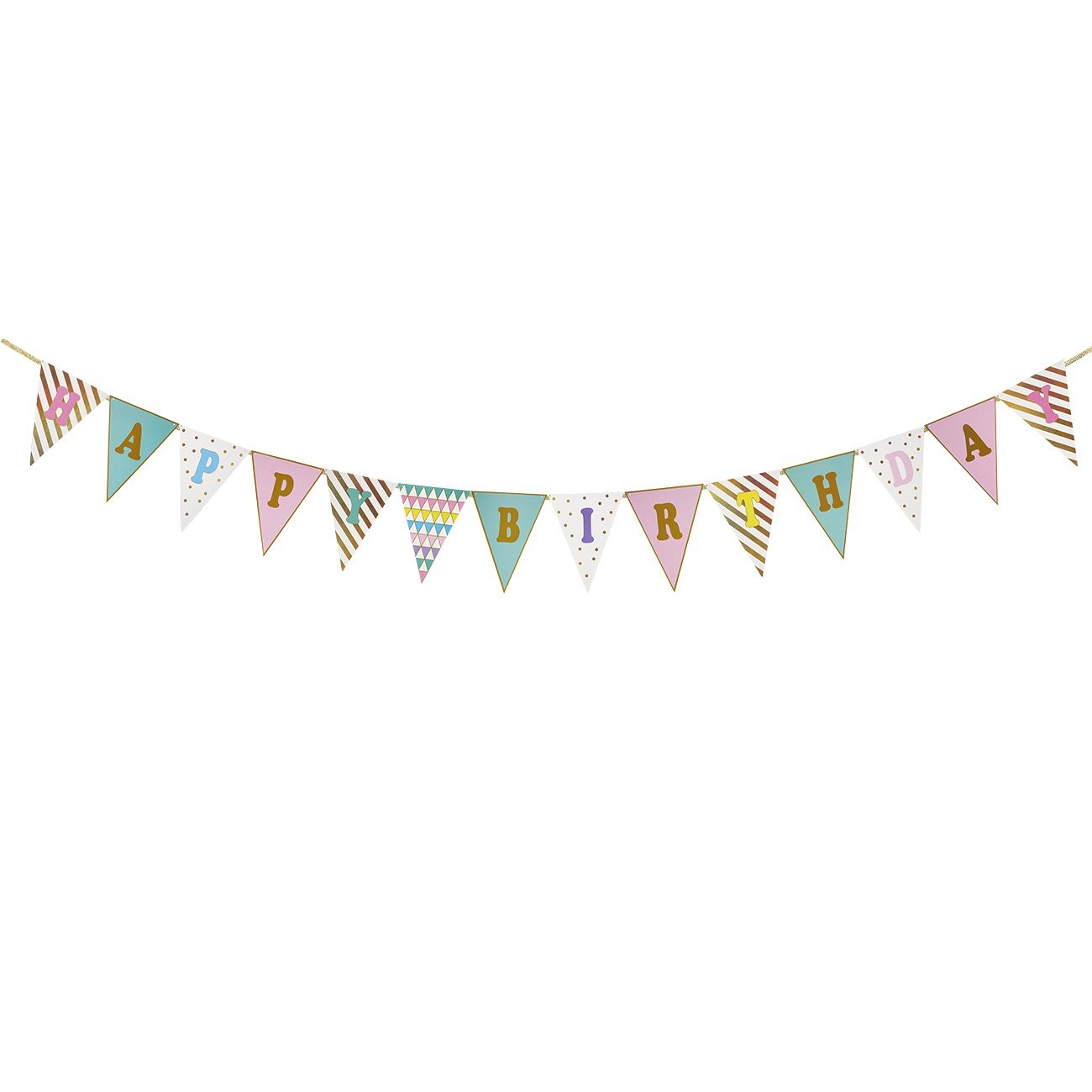 12.6 Feet Long Birthday Party Supplies for Kids Triangle Garland Decorations Pennant Banner Flags Birthday Party Banner Bunting Flags Multi Colors and Patterns