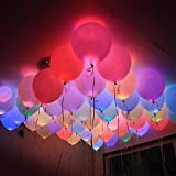 30 Pack of Luminous LED Light Up Balloons, Dazzling Multicolor LED Party Balloon, Helium or Air Inflatable Birthday Balloons for Party Decoration, Party Supply