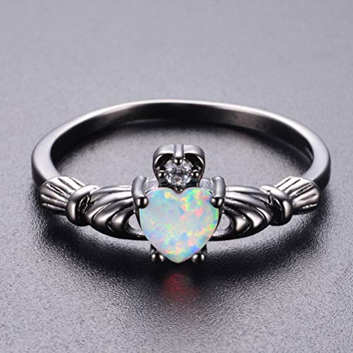GerTong 1 PCS Luxury Women's Ring Elegant Heart Shape Opal Black Zircon Diamond Rings Anniversary Engagement Ring Jewelry Gifts for Women Lady Girls Size 7# by GerTong (Image #8)