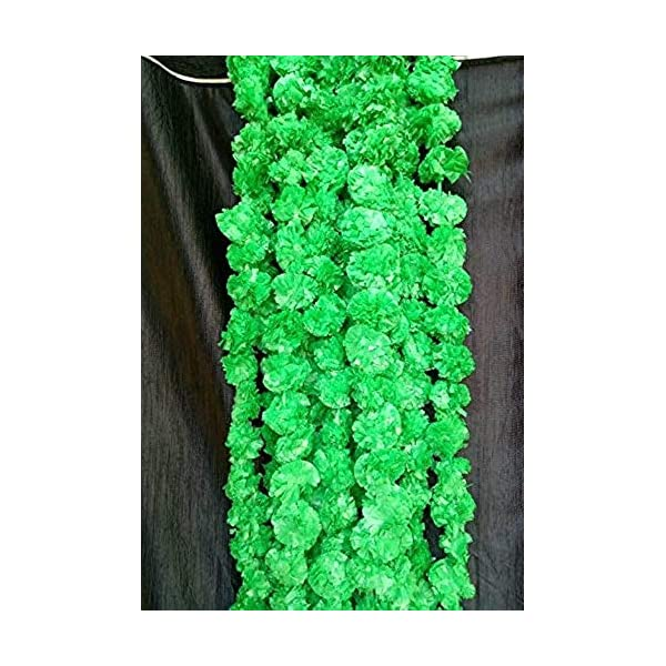 Nexxa 5 ft Long (Pack of 5) Green Artificial Marigold Flower Garlands – for use in Home Parties Diwali Ganesh Fest Decor, Celebrations, Indian Weddings, Indian Themed Event, House Decorations