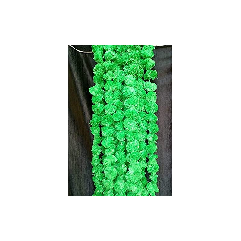 silk flower arrangements nexxa 5 ft long (pack of 5) green artificial marigold flower garlands - for use in home parties diwali ganesh fest decor, celebrations, indian weddings, indian themed event, house decorations